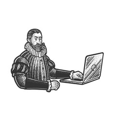 medieval man nobleman with laptop sketch vector image