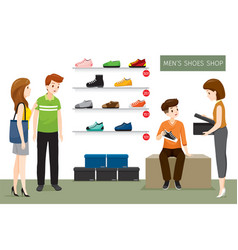 Mens shoes shop with saleswoman and customers vector
