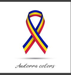 modern colored ribbon with the andorra tricolor vector image