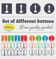 Oscar statuette icon sign Big set of colorful vector