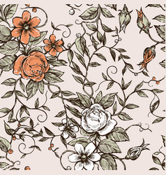 Pattern of the decorative vintage flowers vector