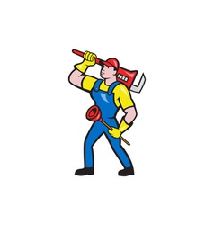 Plumber Carrying Wrench Plunger Cartoon vector