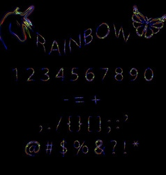 Rainbow neon numbers vector