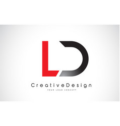 Red and black ld l d letter logo design creative vector