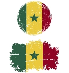 Senegalese round and square grunge flags vector image
