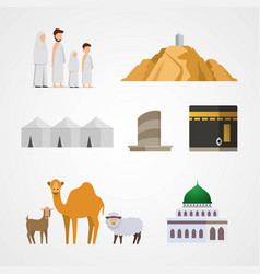 Set hajj for infographic elements pilgrimage vector