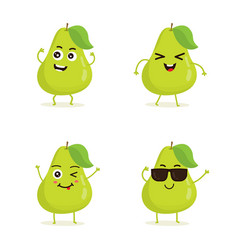set of pear characters in different expressions vector image