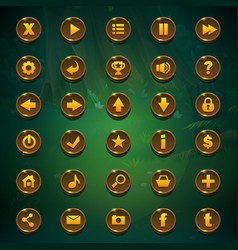 Shadowy forest gui set buttons vector