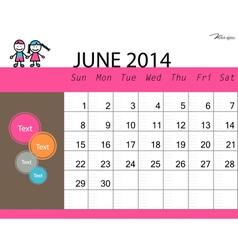 simple 2014 calendar june vector image