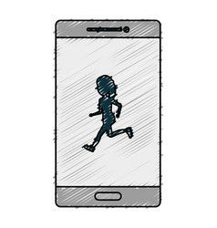 Smartphone device with woman running isolated icon vector