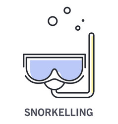 snorkelling icon with snorkel mask and water vector image