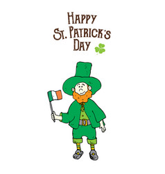 st patricks day hand drawn doodle leprechaun in a vector image
