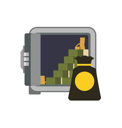 strongbox safe money bundles vector image