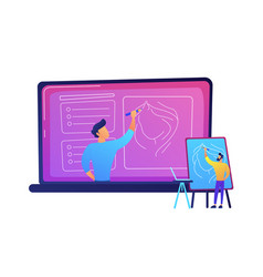 Student watching online tutorial on a big laptop vector