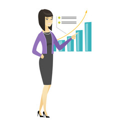 successful business woman pointing at chart vector image