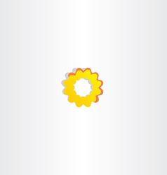 sun icon abstract yellow flower symbol vector image