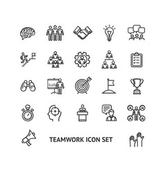 teamwork sign black thin line icon set vector image