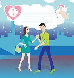 valentine date cartoon vector image