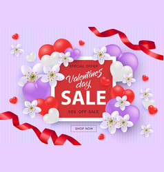 valentines day sale and special offer banner with vector image