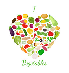 vegetables set logo label with love vector image
