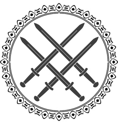 viking symbol with swords vector image