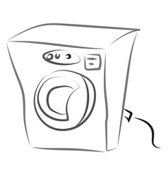 washing machine drawing on white background vector image