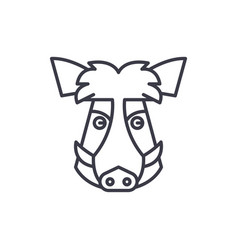 wild boar head line icon sign vector image