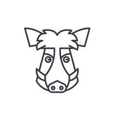 wild boar head line icon sign vector image
