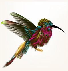 With realistic humming bird vector