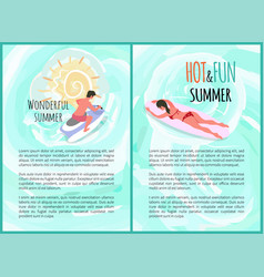 wonderful summer hot and fun summertime poster vector image