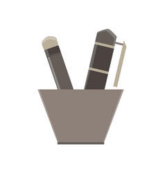 writing tools flat icon isolated design element vector image