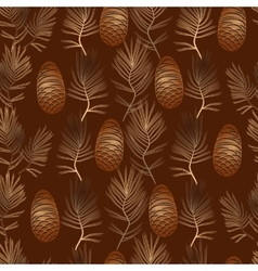 xmas seamless pattern with golden pine vector image
