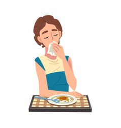 Young woman having dinner cheerful girl sitting vector