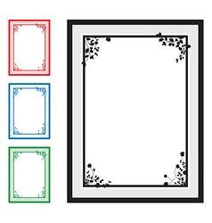 black floral corners background set vector image vector image