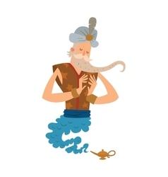 Cartoon djinn old man coming out of a magic lamps vector