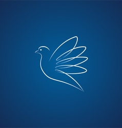 Dove logo over blue vector image