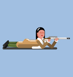 hunter girl lies on the flor and ready to shoot vector image