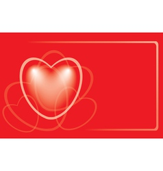 red romantic card with heart vector image vector image