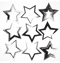 set of grunge star brush strokes vector image