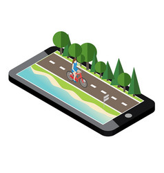 woman on bicycle on the road near the beach and vector image