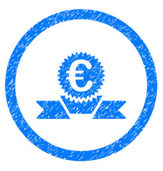 euro award ribbon rounded icon rubber stamp vector image
