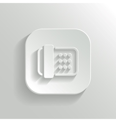Fax machine icon - white app button vector image vector image