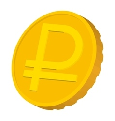 Gold coin with Ruble sign icon cartoon style vector image