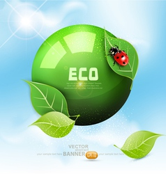 green globe with leaves vector image vector image