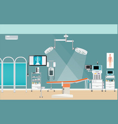 medical hospital surgery operation room interior vector image vector image