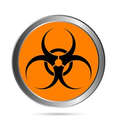 Biohazard sign button vector image