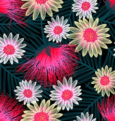 Colorful cottage floral embroidery seamless vector