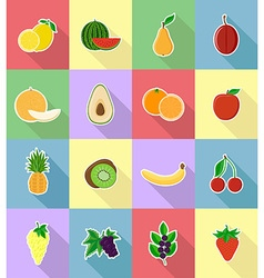 fruits flat icons 18 vector image vector image
