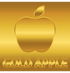Golden apple symbol with gold text vector image vector image