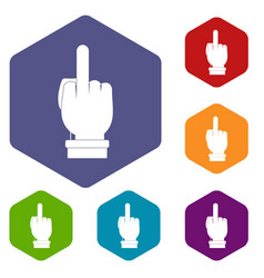 Middle finger hand sign icons set hexagon vector